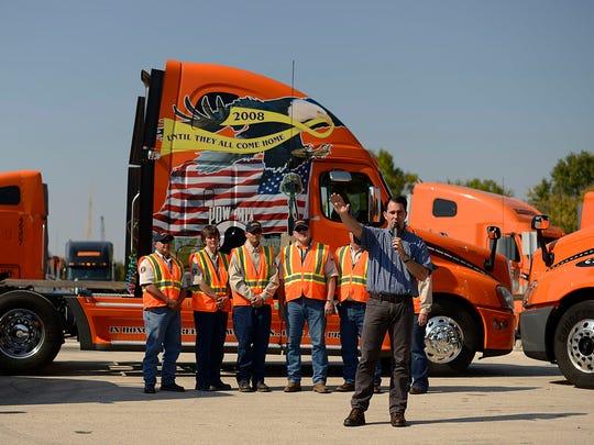 Gov. Scott Walker speaks during his visit to Schneider National Trucking training center in Ashwaubenon on Friday.