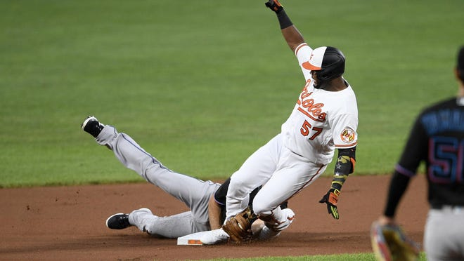 Baltimore Orioles' Hanser Alberto (57) is safe with a double against Miami Marlins second baseman Logan Forsythe, bottom, during the first inning of a baseball game, Thursday, in Baltimore.