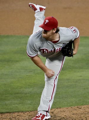 Philadelphia Phillies starting pitcher Chad Billingsley throws to a Los Angeles Dodgers batter during the fourth inning in Los Angeles, Tuesday, July 7, 2015. The Phillies won 7-2.