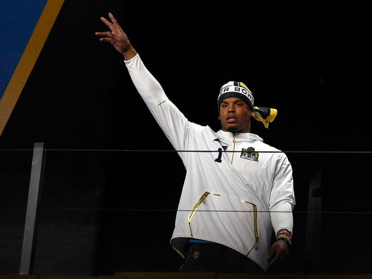 Carolina Panthers quarterback Cam Newton is introduced during Super Bowl 50 Opening Night.