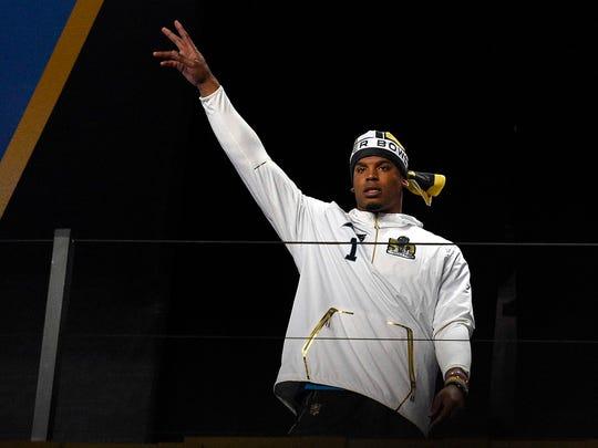 Carolina Panthers quarterback Cam Newton is introduced