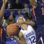 Lady Raiders point guard Ty Petty passes the ball against Virginia on Friday.
