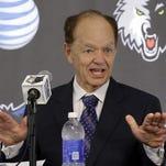 Minnesota Timberwolves team owner and printing company billionaire Glen Taylor speaks on June 6, 2014, in Minneapolis.