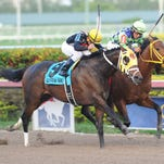 Wildcat Red (inside) with Luis Saez aboard, edges General a Rod with jockey Javier Castellano in the Fountain of Youth Stakes at Gulfstream Park.