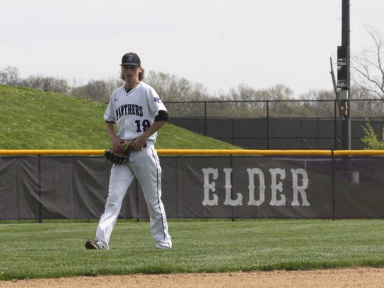 Elder senior Eric Aufderbeck takes the field against Springfield on Saturday, April 21, 2018.
