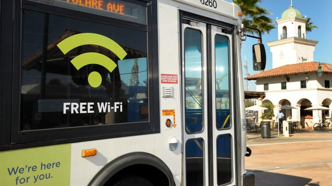Free Wi-Fi will soon be offered to all riders on Visalia Transit buses. Currently the #SocialBus and a few others labeled, pictured, as such have Wi-Fi available.