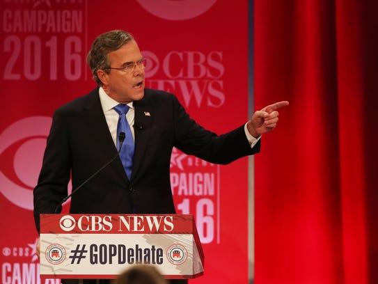 Jeb Bush speaks during the Feb. 13, 2016, GOP debate