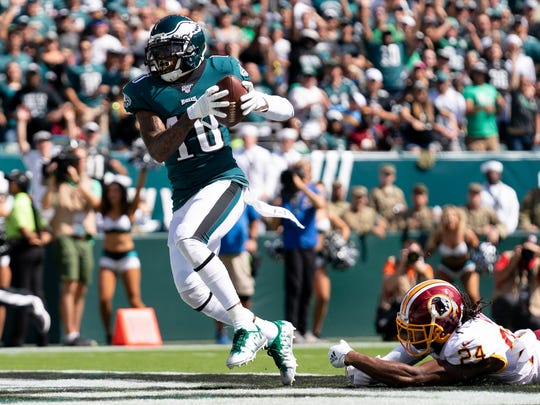 Sep 8, 2019; Philadelphia, PA, USA; Philadelphia Eagles wide receiver DeSean Jackson (10) makes a 51 yard touchdown reception past Washington Redskins cornerback Josh Norman (24) during the second quarter at Lincoln Financial Field. Mandatory Credit: Bill Streicher-USA TODAY Sports