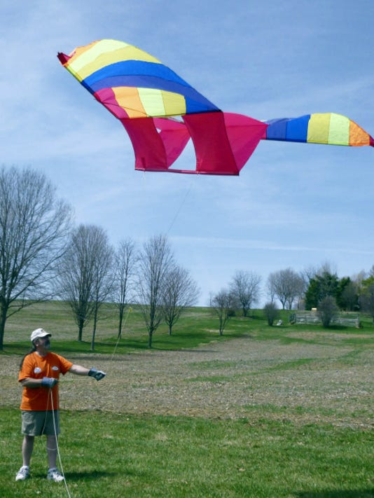 Matthew Phillips, Waynesboro, launched a multi-colored box delta kite during Renfrew Institute's annual Fun Fly last year. This year's event is set for April 11 in Renfrew Park.