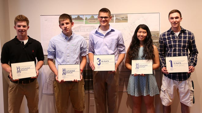 From left, T.J. Greco, Justin Cerrato, Tyler Conklin, Alicia Knights and Andrew Jaehnert won awards in the 22nd Annual Dutchess Community College High School Architectural Design Competition.