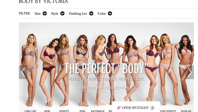 Screenshot of Victoria's Secret webpage featuring The Perfect Body ad campaign.