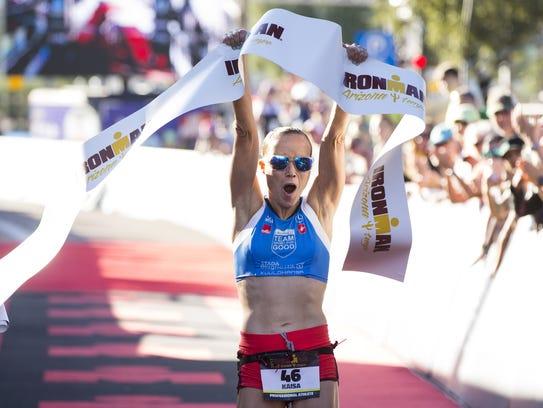 Kaisa Sali wins the women's title at Ironman Arizona on Sunday in Tempe.