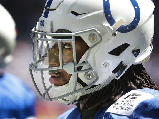 Indianapolis Colts rookie safety Malik Hooker (29) during the first day of Colts preseason training camp Sunday, July 30, 2017, afternoon at Lucas Oil Stadium.