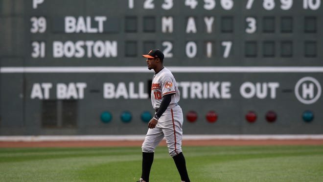 Baltimore Orioles center fielder Adam Jones before a baseball game at Fenway Park in Boston on May 3.