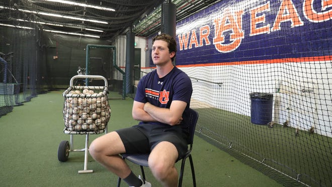 Auburn pitcher Casey Mize talks about his baseball career Wednesday, May 16, 2018, at Hitchcock Field at Plainsman Park in Auburn, Alabama.