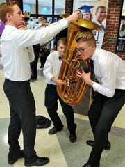Northern York County School District's annual all-district band concert, A Night at the Oscars, was held March 31 with 400 student musicians from grades 4-12. Pictured at the event are, from left, Josiah Stetler, Ryan Kreiger and Ethan Spencer.