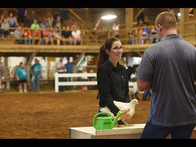 Sarah Vejsicky, horse showmanship winner, shows a hen