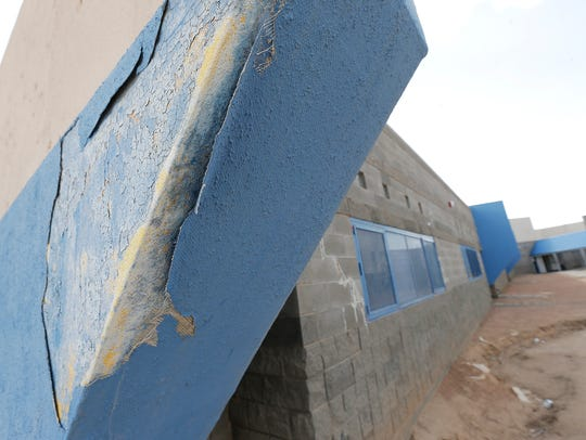 The stucco covering the styrofoam facade at Valley