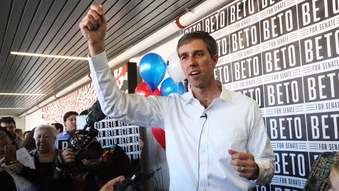 U.S. Rep. Beto O'Rourke speaks to the news media after formally entering the race for the U.S. Senate in November in Downtown El Paso.
