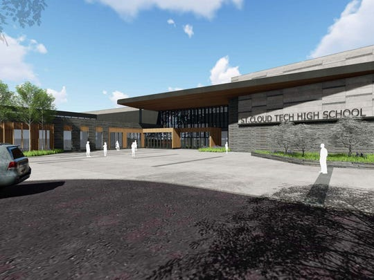 The proposed entrance to Tech High School shows a blend of granite and woodland aesthetics.