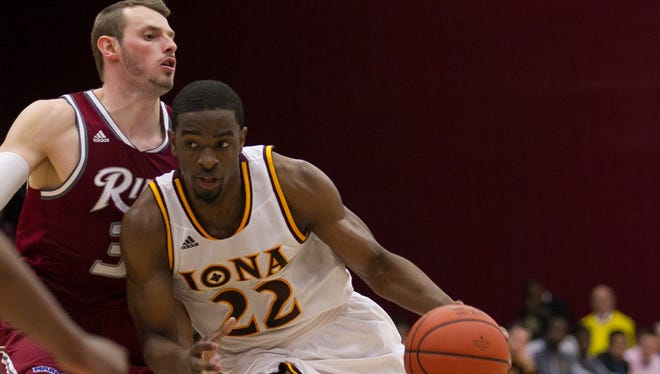 Iona senior guard Sean Armand (22) drives to the hoop during a MAAC conference men's basketball game between Iona and Rider at Iona College's Hynes Athletic Center in New Rochelle on Sunday, March 2, 2014.