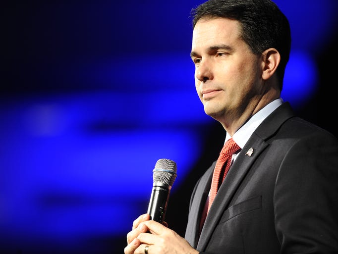 Wisconsin Gov. Scott Walker speaks,  Monday, May 4,