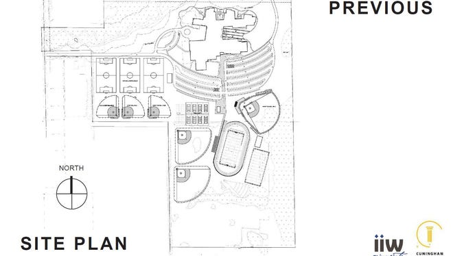 The previous site layout for the new Tech High School campus included three baseball fields.