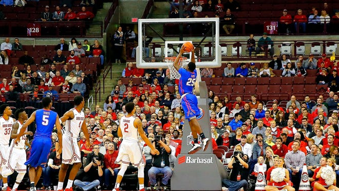 Louisiana Tech Bulldogs guard Qiydar Davis (25) goes up for a dunk shot against the Ohio State Buckeyes during the first half at Value City Arena. Mandatory Credit: Russell LaBounty-USA TODAY Sports