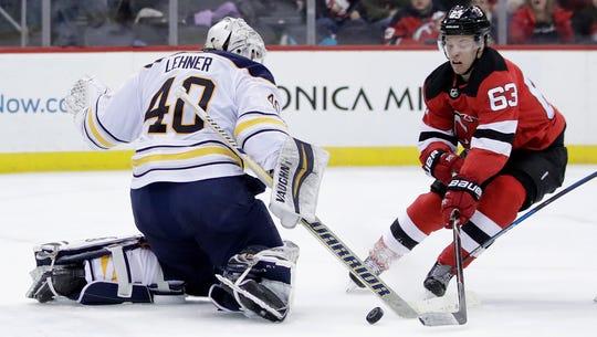 Buffalo Sabres goaltender Robin Lehner (40), of Sweden,