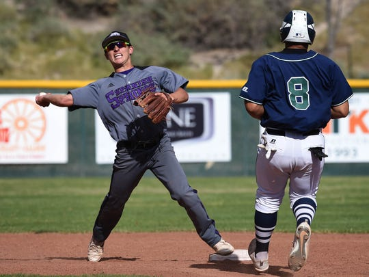 Spanish Springs' John McHenry attemps a double play