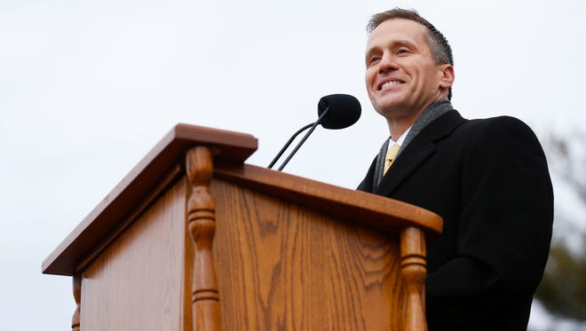 Missouri Gov. Eric Greitens delivers his inaugural speech after being sworn in as the 56th governor of Missouri at an inauguration ceremony on the South lawn of the Missouri State Capital on Monday, Jan. 9, 2017.