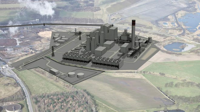 Illustration of the White Rose plant proposal, incorporating full carbon capture and storage. The plant would be located near Selby, North Yorkshire.