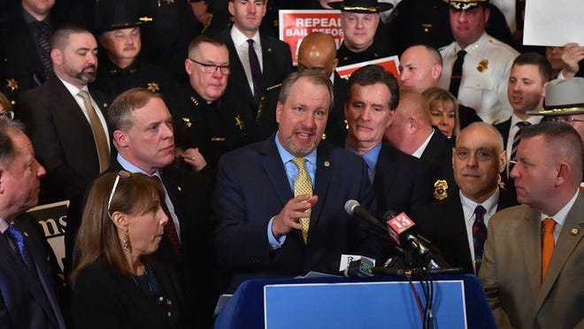 Orange County District Attorney David Hoovler speaks Tuesday at a rally against the state's recent bail reforms at the Capitol in Albany.