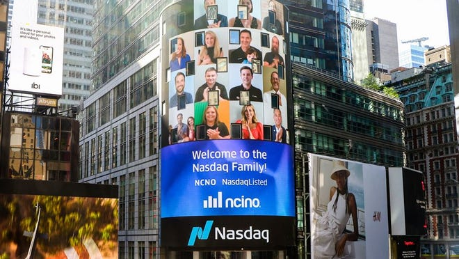 The Wilmington-based software company nCino celebrated its initial public offering on Tuesday. The price of shares soon rose 150 percent.
