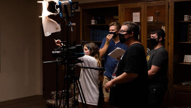 """Cast and crew work on filming """"Peoria: The TV Show."""""""