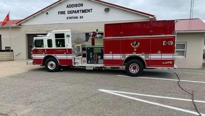 An Addison fire engine in pictured outside the Addison fire hall in May. Rollin Township voters are being asked to increase the amount of property tax they pay for fire services.