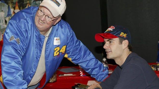 Jeff Gordon takes a photo with Larry Sparks, a longtime Hendricks County educator and Gordon's former driving instructor.