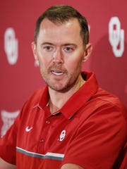 Oklahoma head coach Lincoln Riley answers a question during an NCAA college football news conference in Norman, Okla., Monday, Aug. 28, 2017. The seventh-ranked Sooners will get their first test Saturday against Texas-El Paso. (AP Photo/Sue Ogrocki)