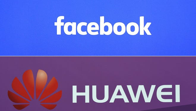 """This combination of file pictures created on June 5, 2018 shows a Facebook logo on a screen ahead of a press conference to announce the launch of it's latest product """"Workplace"""", in central London, on Oct. 10, 2016 and the logo of Chinese electronics firm Huawei during a presentation of the new Huawei Mate 9 high-end-phablet at the Huawei Global Product Launch in Munich, southern Germany, on Nov. 3, 2016."""