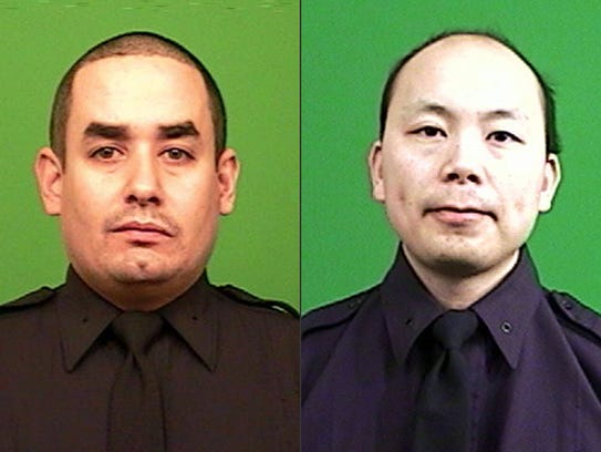 Rafael Ramos, left, and Wenjian Liu, right, were killed