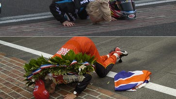 Dan Wheldon's 9-year-old sons kisses the yard of bricks