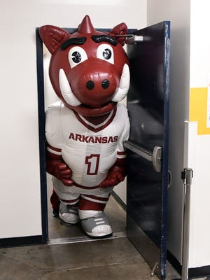 The Arkansas Razorbacks mascot squeezes through a door on his way to the court prior to the game against the Kentucky Wildcats during the SEC Conference Tournament final