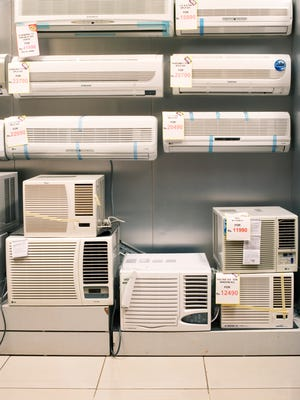Air conditioners on display.