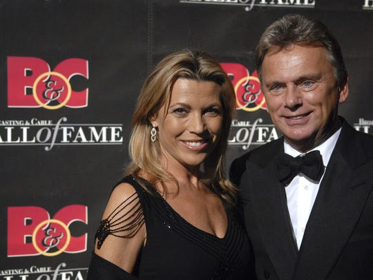 In this Monday, Oct. 22, 2007 file photo, Game Show Host's Vanna White and Pat Sajak arrive at the 17th annual Broacasting and Cable Hall of Fame awards dinner at Cipriani's 42nd street, in New York.