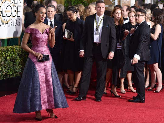 Kerry Washington arrives at the 72nd annual Golden Globe Awards at the Beverly Hilton Hotel on Sunday, Jan. 11, 2015, in Beverly Hills, Calif. (Photo by John Shearer/Invision/AP)