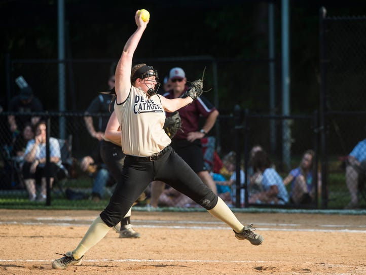 Delone Catholic's Maggie Rickrode pitches during the