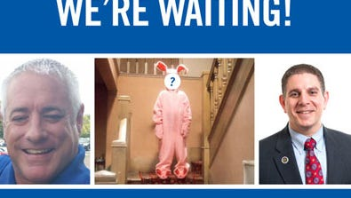 """Either Q106 radio host """"DJ Mojo"""" (left) or Lansing Mayor Virg Bernero will have to wear a pink bunny costume outside City Hall on Dec. 17."""