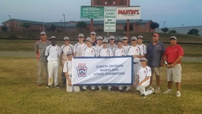 West Salisbury poses earlier this summer after winning the Maryland state Junior League title. From left to right standing: Coach Rick Taylor, Makhai Bratten, Paul Oscar, Max Taylor, Drew von Kollmar, Coach Dan Corbin, Brandon Scholl, Elijah Reddish, Seth Abbey, Tyler Bennett,  Travis Adams , Jake Taylor, Ethan Peterman, Manager Pete Peterman, Coach Matt Guy.  In front: Blake Corbin, Matt Guy
