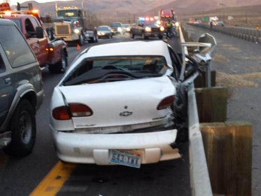 A vehicle involved in a crash on I-80 eastbound near USA Parkway on Monday morning.