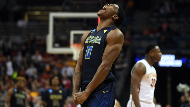 Wolf Pack forward Cameron Oliver celebrates during the second half of Nevada's game against Iowa State.